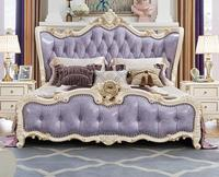Hot Sale 5 Pieces Purple Color King Size Solid Wood Hand carved Modern Princess Bedroom Furniture Set Made In China