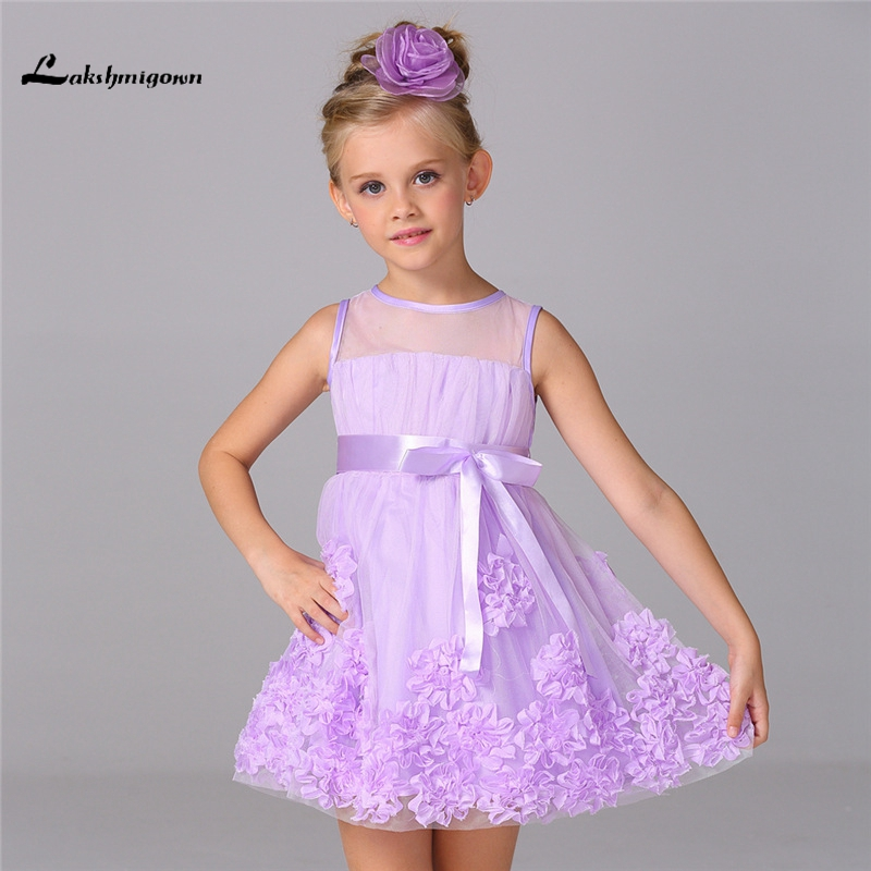 2016 Girls Pageant Dresses Ball Gown  Organza Mini Bow Little Baby Flower Girl Dresses For Weddings junior bridesmaid dresses