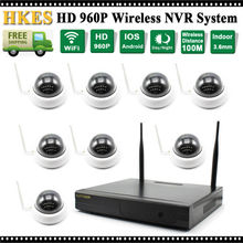 HKES 8CH IR HD Home Security Wireless NVR IP Camera System 960P CCTV Set Indoor Wifi Cameras Video NVR Surveillance CCTV KIT