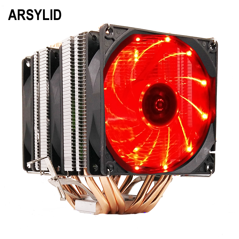 ARSYLID CN-609-P CPU cooler 9cm fan 6 heatpipe dual-tower cooling for Intel LGA775 1151 115x 1366 2011 for AMD AM3 AM4 radiator lanshuo pc amd intel processor cooling 12cm mm 6 heat pipe heat sink radiator fan led cpu cooler lga 775 115x 1366 2011 am3 am4