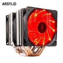 ARSYLID CN-609-P Процессор 9 см вентилятор 6 heatpipe двойной-башня охлаждения для Intel LGA775 1151 115×1366 2011 для AMD AM3 AM4 радиатора