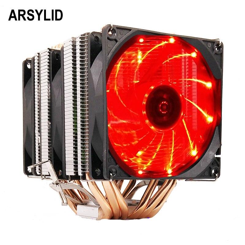 ARSYLID CN-609-P CPU refroidisseur 9 cm ventilateur 6 heatpipe double-tour de refroidissement pour Intel LGA775 1151 115x1366 2011 pour AMD AM3 AM4 radiateur
