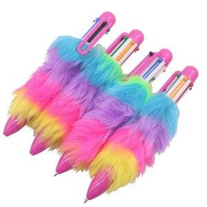 Image 3 - 50 шт. плюшевая ручка, шестицветная шариковая ручка, оптовая продажа, канцелярские товары для творчества студентов, Офисная подарочная ручка для письма