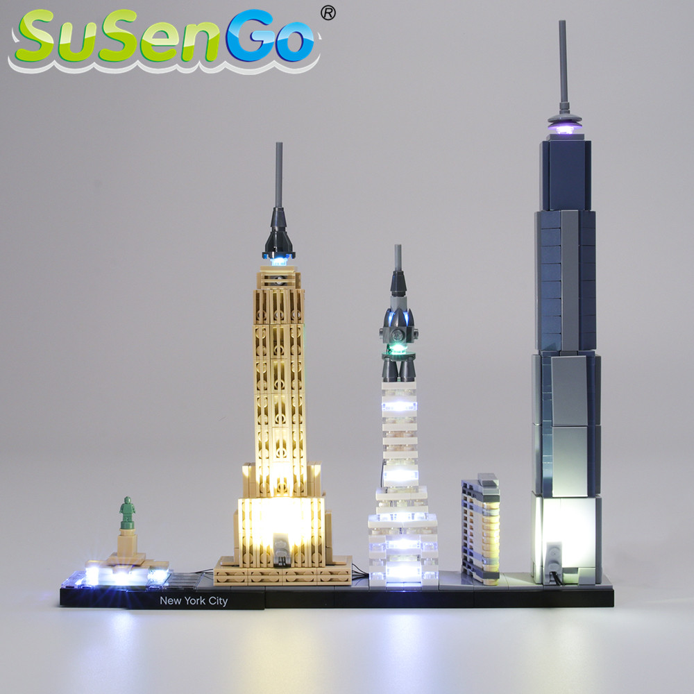 SuSenGo LED Light Set For Architecture New York City Toys Lighting Set Compatible With 21028 NO Building Blocks Model