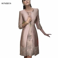 Fashion Mother Of The Bride Dresses Satin Long Coat Wedding Formal Guest Gown/Outfits Half Sleeve Appliques Women Evening Suit
