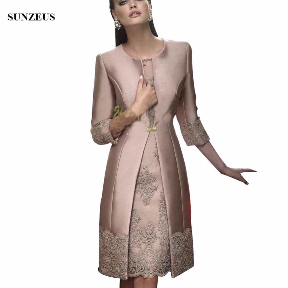 Fashion Mother Of The Bride Dresses Satin Long Coat Wedding Formal Gown/Outfits Half Sleeve Appliques Short Women Evening Suit