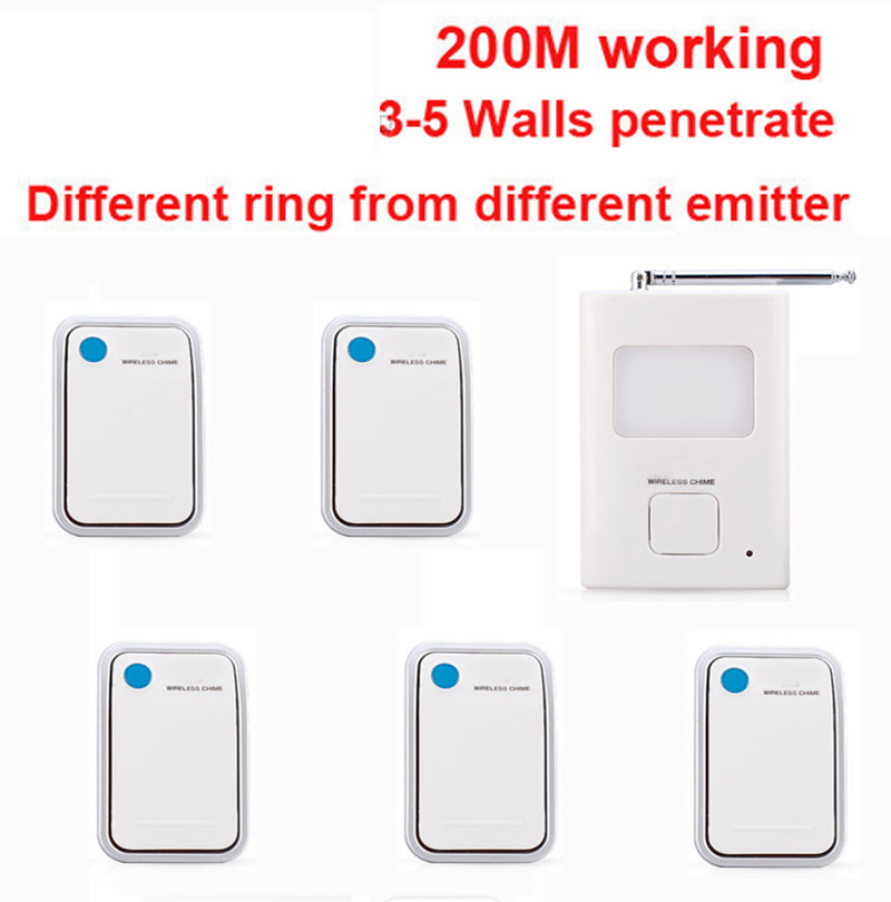 200m work ring bell 5 emitters+1 receivers music doorbell wireless doorbell,wireless door chime bell 36 music door bell ks v2 welcom chime bell sensor