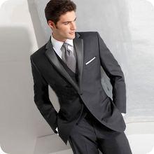 Черный мужской костюм для свадьбы официальных встреч и торжеств