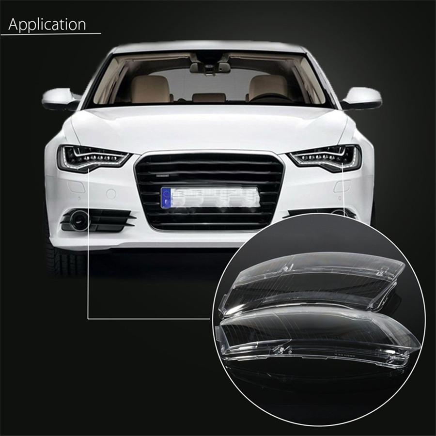 1 Pair Car Housing Right&Left Replacement Lamp Assembly Shell Cover Headlight Lens Lampshade For Audi A6 A6L C6 1 pair left right bumper headlight washer caps cover for audi a4 b6 quattro 02 05