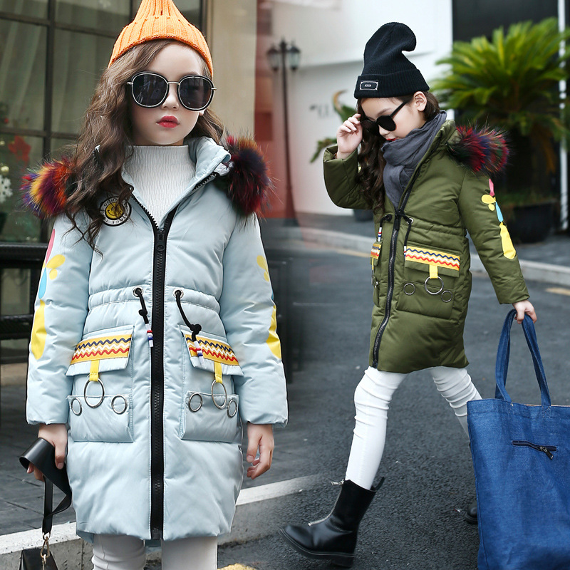 Hot Selling 2017 Joker Top Quality Girls Winter Coat Cotton Long Sleeveround Collar Slim Warm Color Hair Cotton-padded Clothes