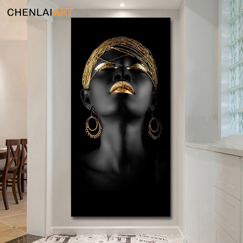 HTB1je5EKHvpK1RjSZPiq6zmwXXag Canvas Prints Modern Black Woman Model Painting Wall Art Poster And Prints Pictures Home Decoration For Living Room No Frame