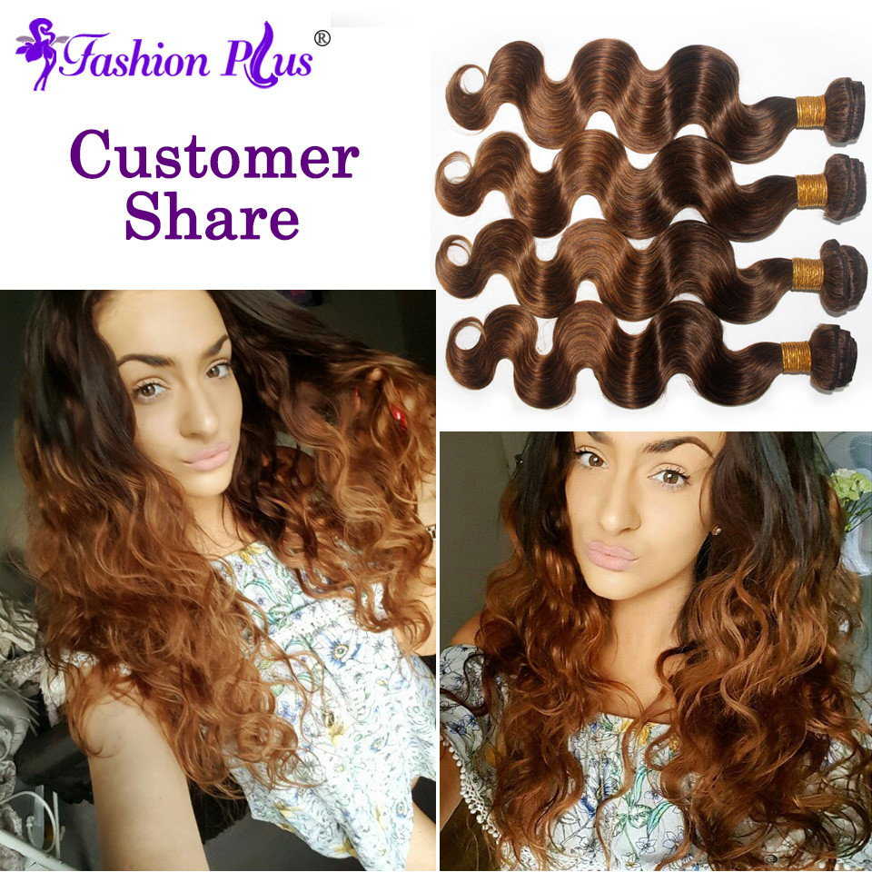 Fashion Plus Ombre Brasilian Hair Body Wave T4 / 30 Human Hair Weave - Menneskehår (hvid) - Foto 6