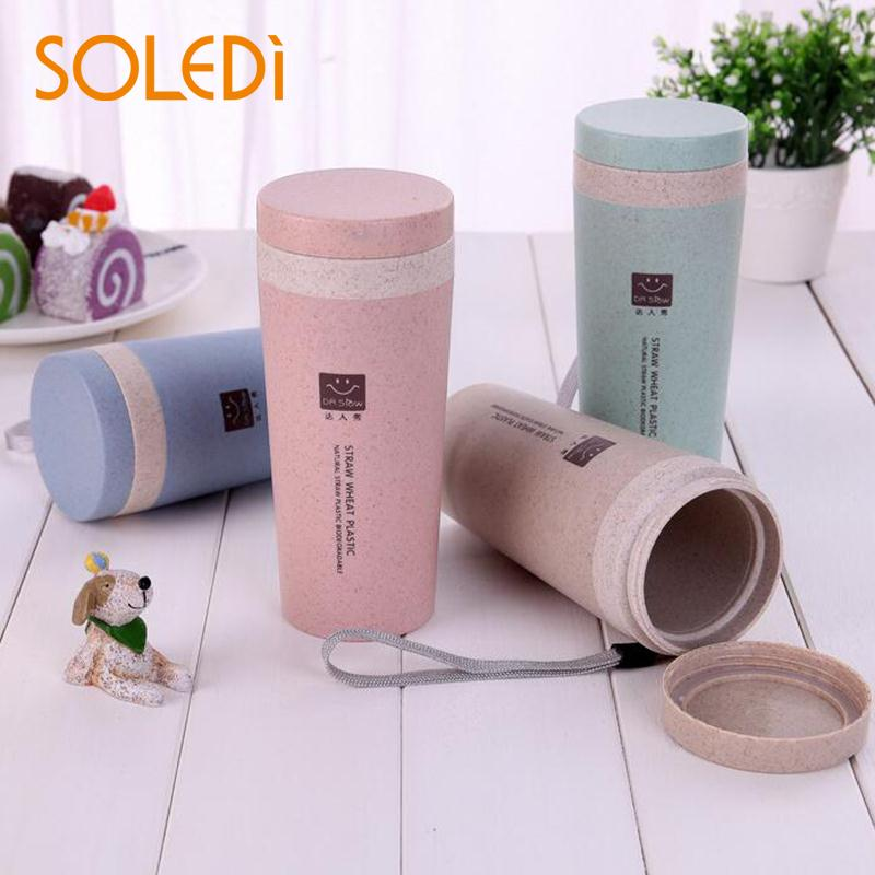 Wheat Straw Plastic Coffee Cups Travel Coffee Mug With Lid Travel Easy Go Cup Portable for Outdoor Camping Hiking Picnic
