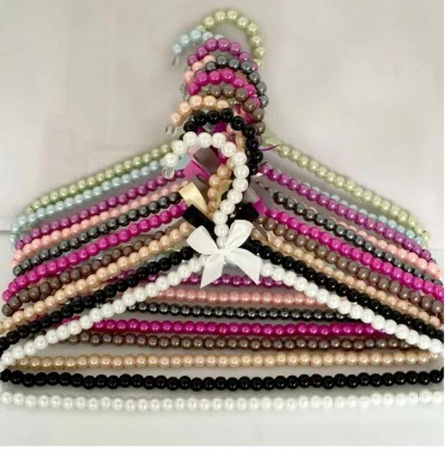 5pcs/lot 40cm The ladies pearl hangers  adult plastic clohtes hanger anti skid rack  wedding dress hangers