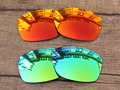 Fire Red & Green 2 Pairs Mirror Polarized Replacement Lenses For Jupiter Squared Sunglasses Frame 100% UVA & UVB Protection