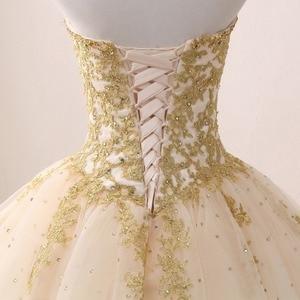 Image 5 - Gold Quinceanera Dresses Lace Appliques Beaded Ball Gown Sweet Strapless Vestidos de 15 Anos Envio Gratis Vestido De Princesa