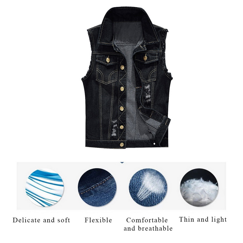 Shujin Cotton Jeans Sleeveless Jacket Vest Men Plus Size 6xl Black Denim Jeans Vest Male Cowboy Outdoors Waistcoat Mens Jackets