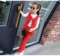 Детская Одежда набор девушка футболка + жилет + брюки 3 шт. красный/розовый/черный для 4 ~ 16 лет девушка