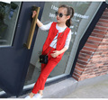 Children's Clothing set girl T-shirt+vest+pants 3 pcs red/pink/black for 4~16 years girl