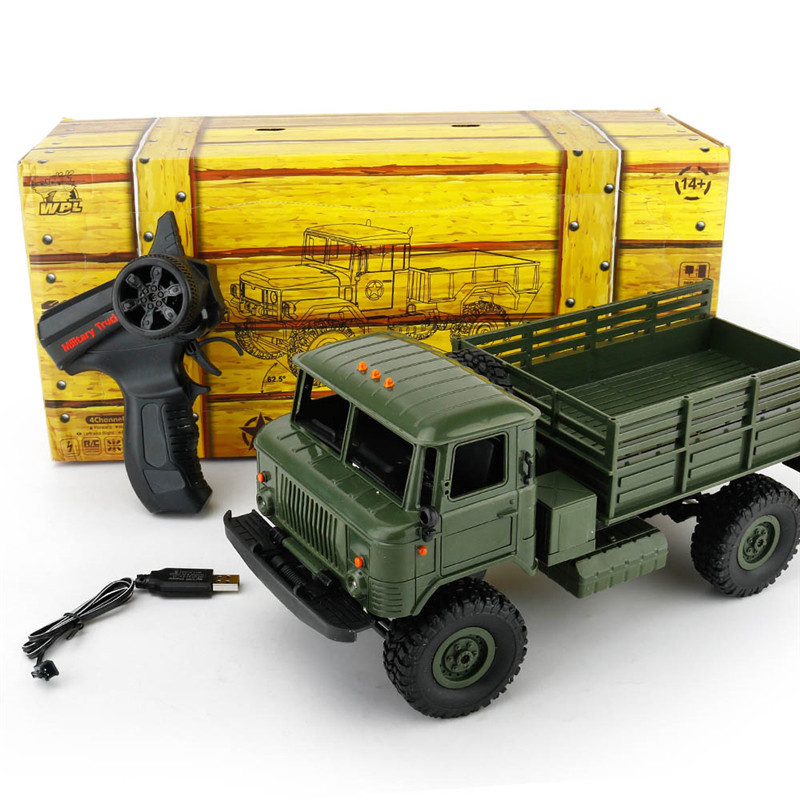 WPL B-24 1/16 Remote Control Military Truck 4 Wheel Drive Off-Road RC Car Model Remote Control Climbing Car RTR Gift Toy