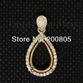Vintage Pear 8x12mm Solid 14Kt Yellow Gold Diamond Setting Pendant WP009