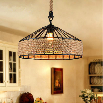 Industrial Hemp Rope Dining Room Pendant Lamps Fixture Shade Cafe Bar Drop Light Store Rest