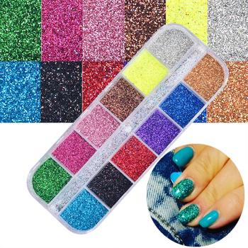 12 Colors  Starry Holographic Laser Nail Glitter Powder Ultra-thin Shining Pigment Dust Powder Manicure Nail Art Glitter 0 2mm holographic glitter powder shining sugar nail glitter dust chrome powder nail art decorations 26 colors 10g pack