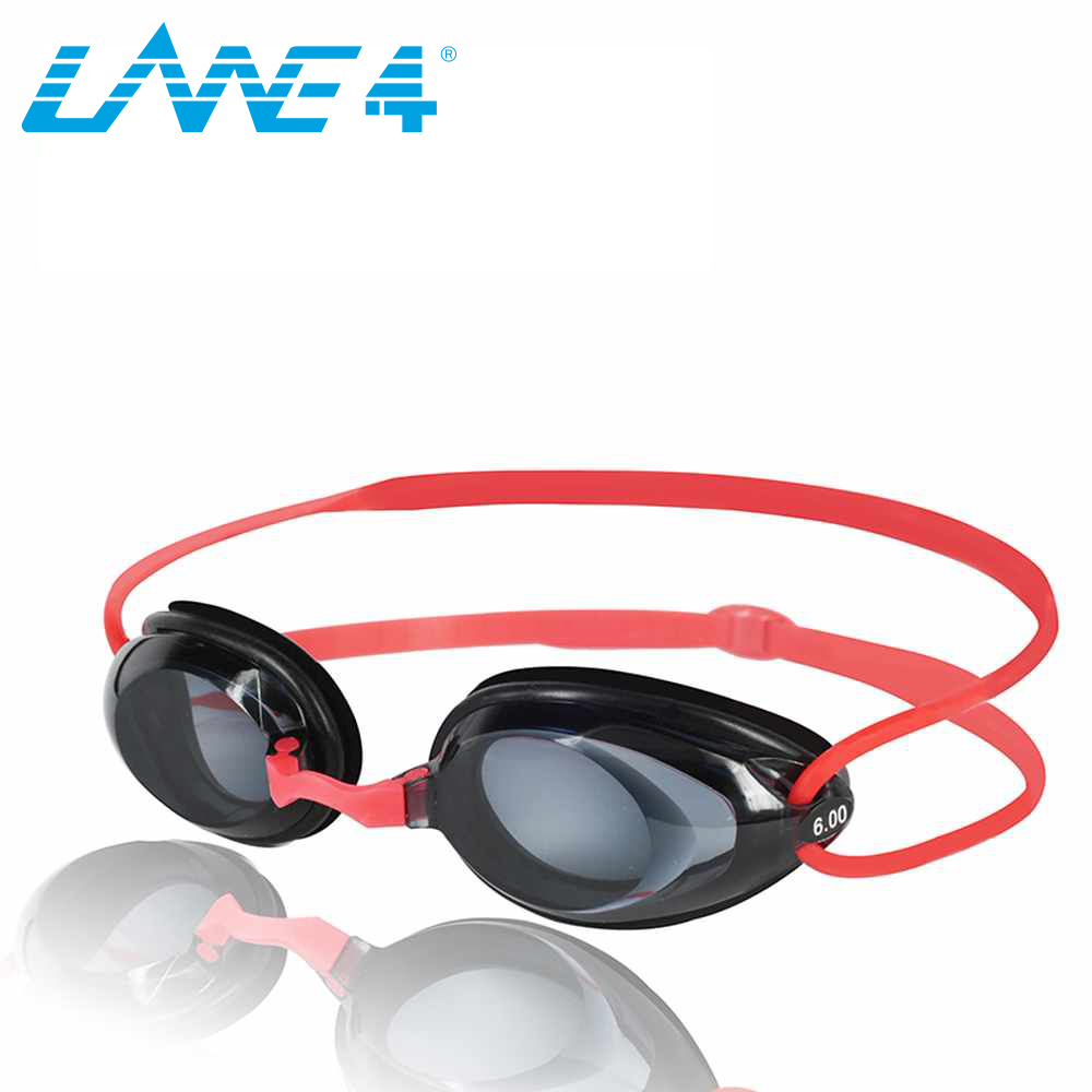 LANE4 Optical Swimming Goggles Hydrodynamic Profile Frame Silicone Seals Anti fog UV Protection for Adults RED