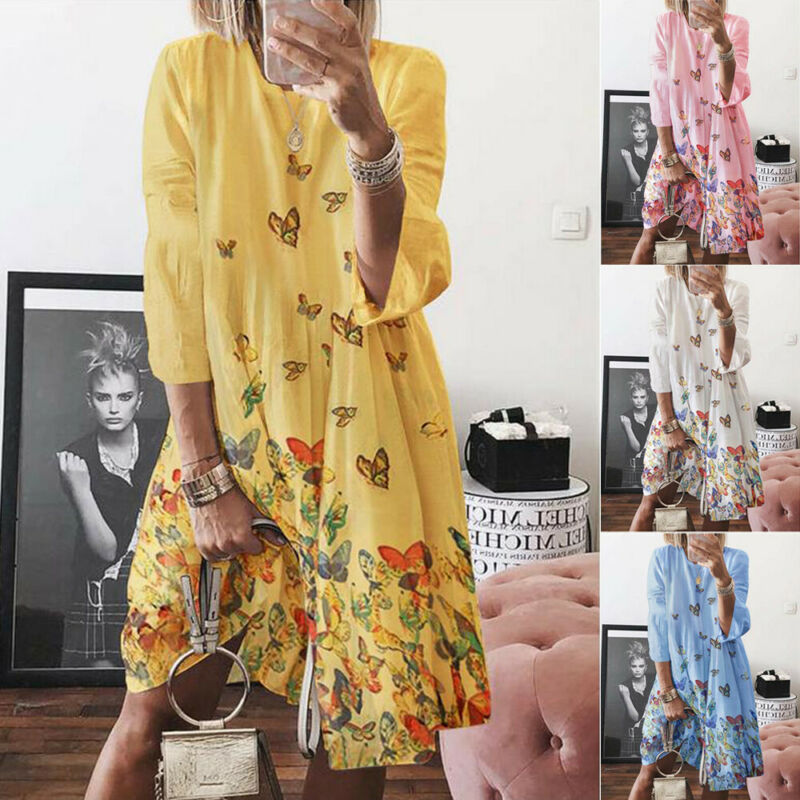 Hot Women Dresses Summer Boho Dress Party Beach Sundress Loose Bohemian Three Quater Butterfly Print Dress