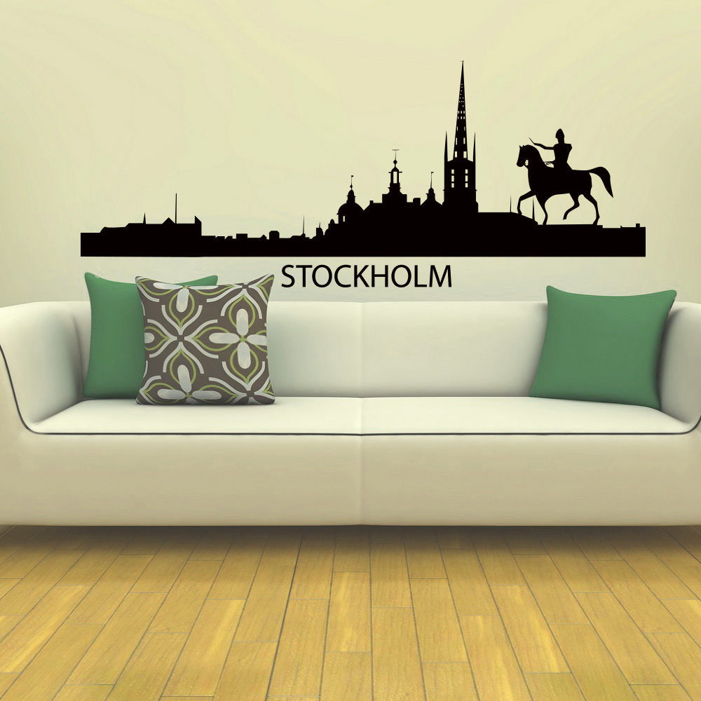 Horse sticker wall art - Stockholm Skyline Wall Sticker City Skyline Building Horse Wall Decal Bedroom Skyline Wall Art Sticker Home Decorative Decor In Wall Stickers From Home