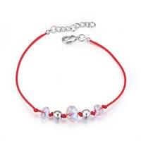 Btime מכירה החדשה למעלה חרוזים צמידים & צמידי צמידים חבל אדום קו קריסטל נשים Pulseira קריסטלים סברובסקי תכשיטי כיוון אחד