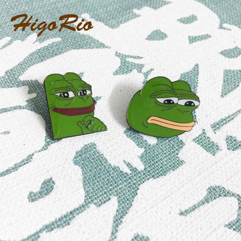 2pcs Different Pins Hot Sale Green Sad Dank Collector Enamel Pins Badges Metal Craft Popular <font><b>Meme</b></font> Smug Frog Lapel Pin image