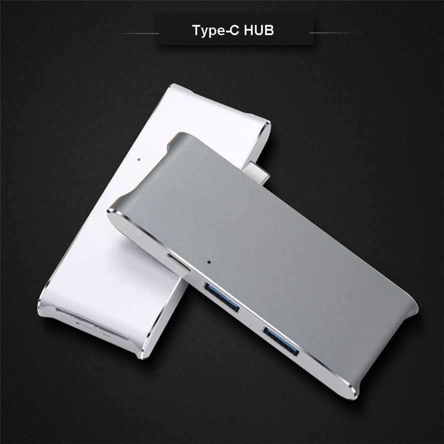 Best Price Type-C USB 3.0 Combo Hub Aluminum Multi-Port Adapter For MacBook SD/Micro Card Reader