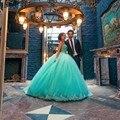 Turquesa vestido de Bola Vestidos de Novia Sin Tirantes Appliques Rebordear Piso de Longitud Gelin Elbisesi Brautkleid W102604 Vendimia