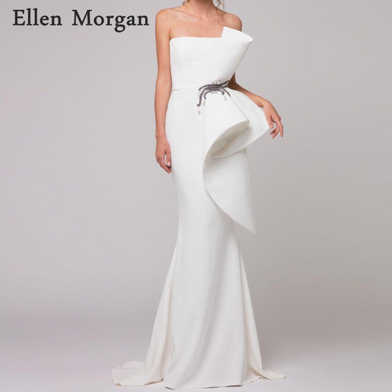Ivory Elegant Mermaid   Evening     Dresses   2019 Special Occasion Embroidery Off Shoulder Sexy Formal Gowns For Women Wear