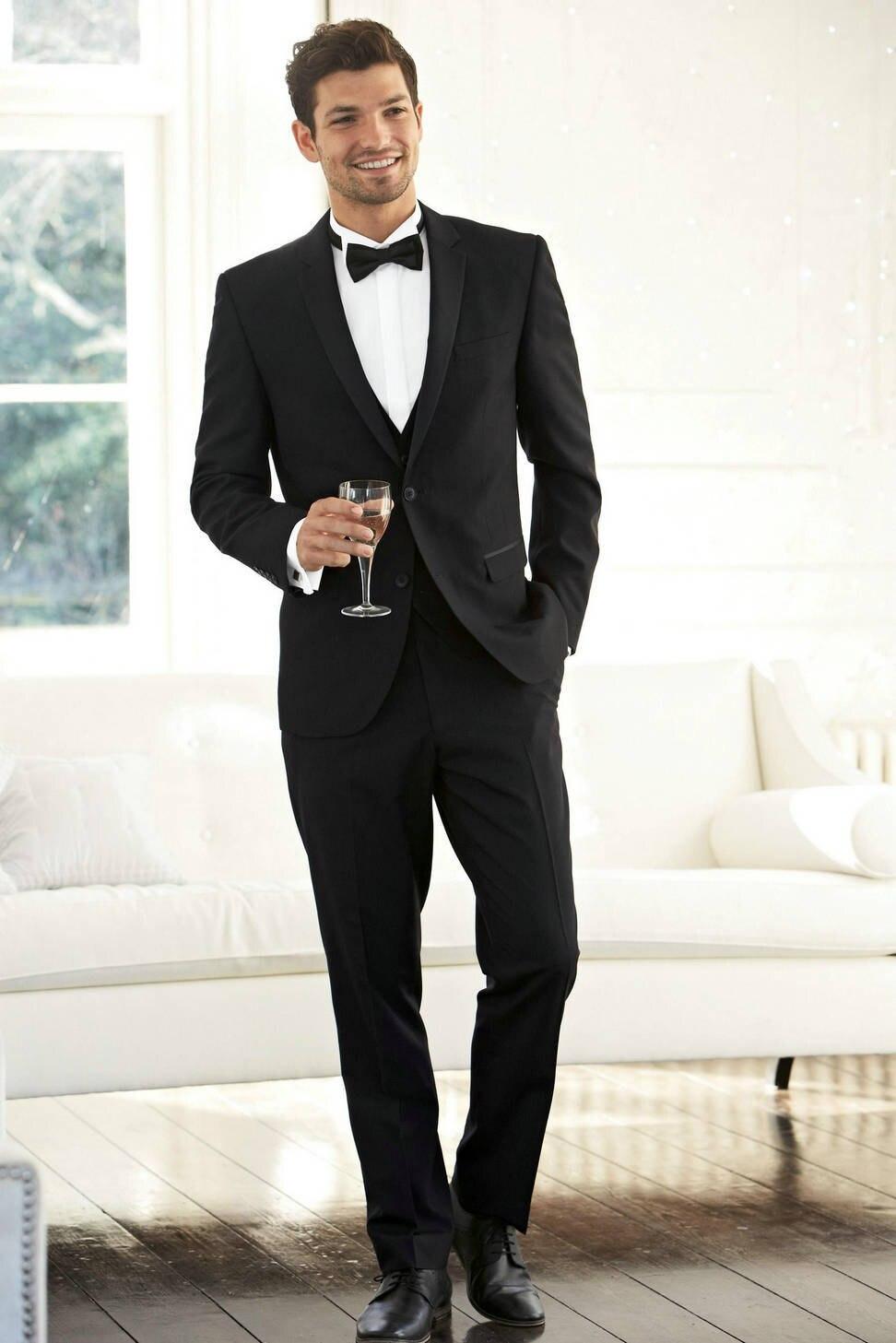 2016 Handsome Groom Tuxedo Groomsmen Black Wedding/Dinner