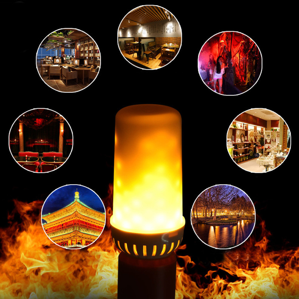 ISHOWTIENDA LED Flame Fire Light Effect Simulated Nature Corn Bulbs E27 Decoration Lamp Flame Flickering Effect Fire Light Bulb