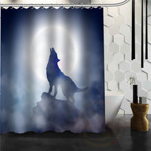 Most Popular Moonlight Wolf Fantasy Shower Curtain Pattern Customized Bath  Curtain Fabric Polyester Waterproof Curtains(
