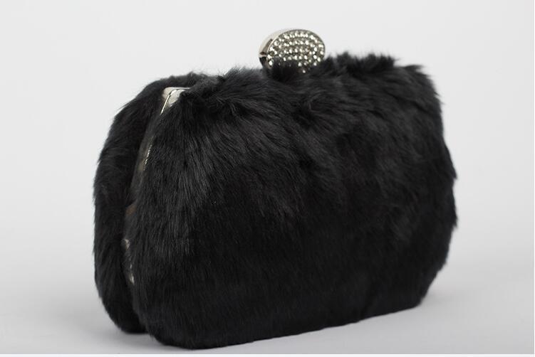 2017 real de piel de conejo bolsa mini bolso de noche de embrague día de la muje