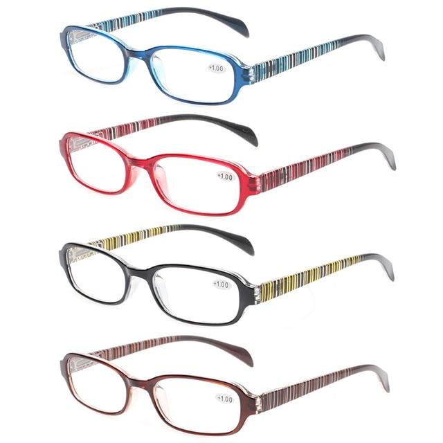 58cded61a5f Henotin Fashion 4 pack reading glasses women spring hinges rectangular eyeglasses  frames comfortable readers