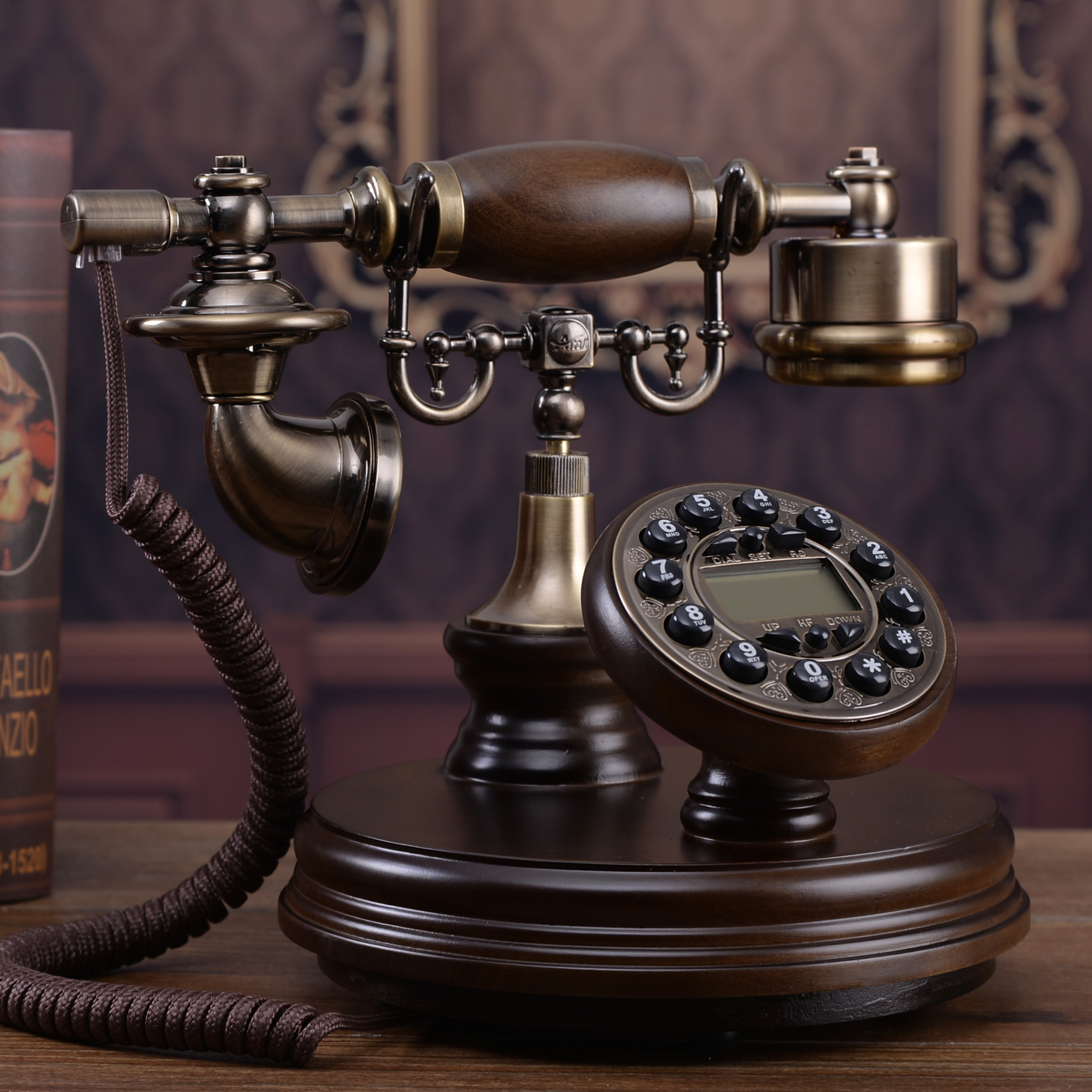 high grade old antique telephone landline phone home european style of the ancient wooden new american telephone decoration home in figurines miniatures  [ 2284 x 2284 Pixel ]