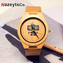 HOTIME B14 Natureza Bambu Robô da Marca de Design de Luxo dos homens dial relógio de pulso de Quartzo Relógios Com Pulseira De Couro Real Como O Natal OEM