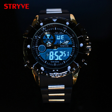 Фотография 3ATM Waterproof New Brand Stryve Watches Men Cool Big dial Watches Women Double movement Analog Digital Military Watches Male