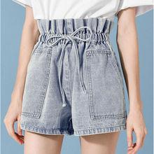 дешево!  Новые летние шорты с высокой талией Джинсы эластичный поясной карман Уличная одежда Bell Bottom Jean