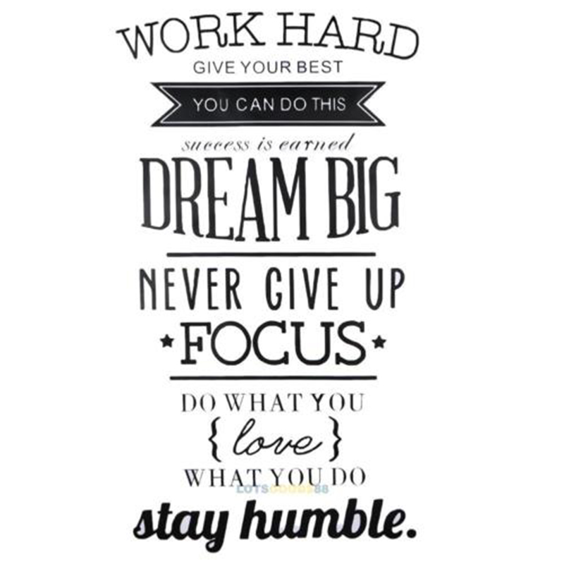 New Wall Decals Quotes Work Hard Vinyl Wall Sticker Decorative Office Home Decal