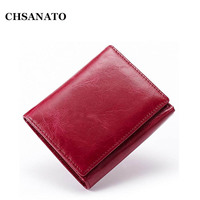 2018 New! Wax Genuine Leather Wallets Women Men Short Slim 2 folded Zipper Wallet Bag
