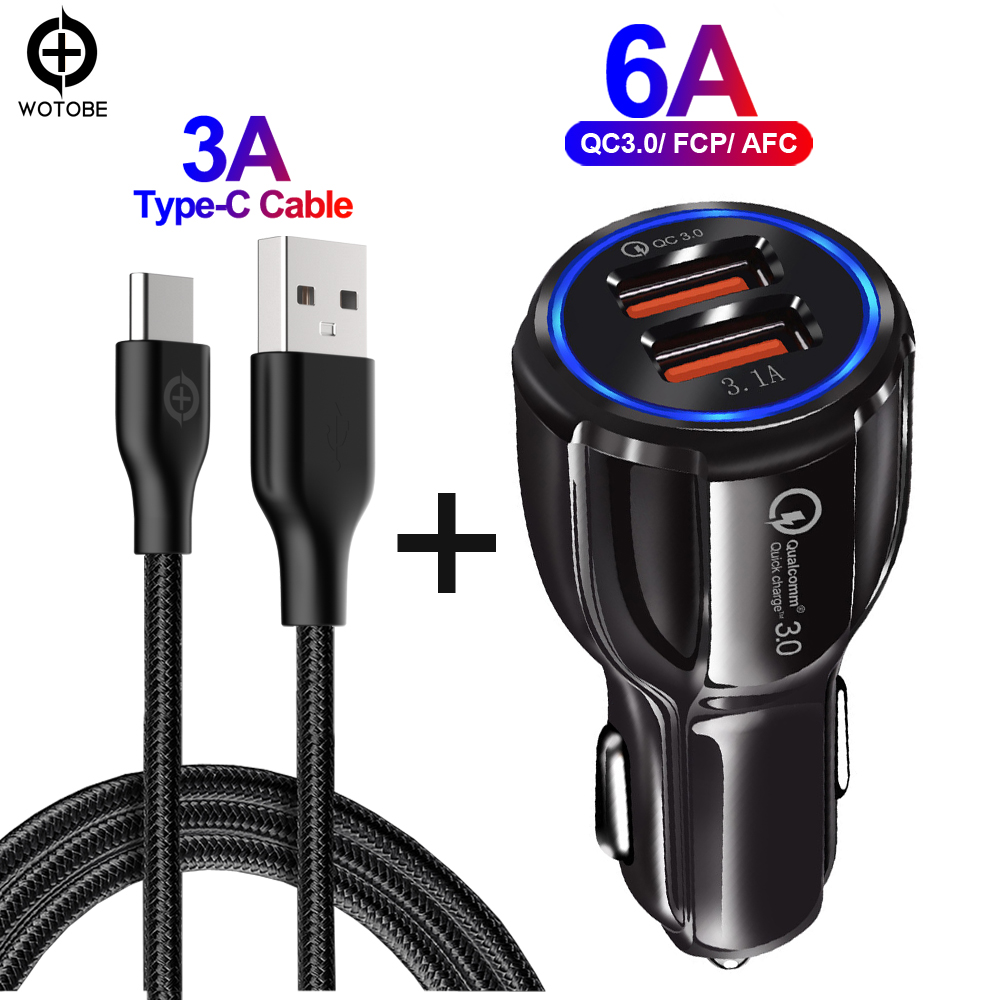 30W QC3.0 Car Charger,Quick Charging 3.0 Cell Phone Charger 2 Port For IPhone/ipad Samsung Huawei Xiaomi Rapid Car And 3A Cable