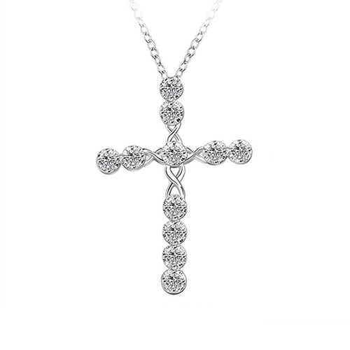 ผู้หญิง 925 Latin Cross Charm Zircon จี้สร้อยคอเครื่องประดับ Clear Zircon องค์ประกอบ Lucky หญิงสร้อยคอ