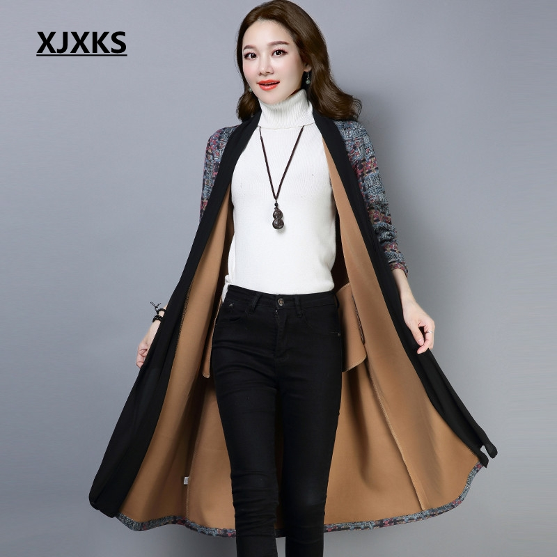 XJXKS womens   trench   coats 2018 autumn women fashion clothing comfortable unique fabrics patchwork female print long coat