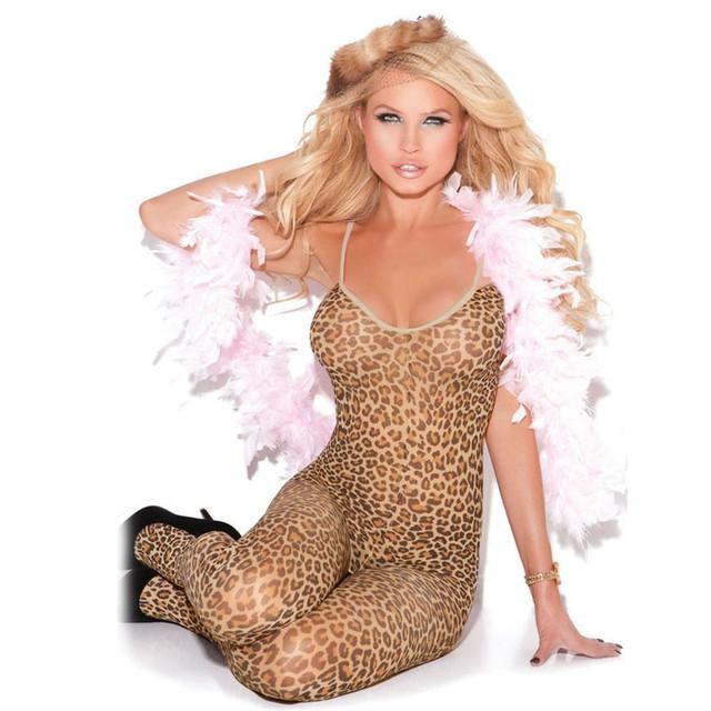 2017 summer hot new sexy lencería mujer ropa de dormir mono sin mangas femenina fetal leopardo body medias lc79798